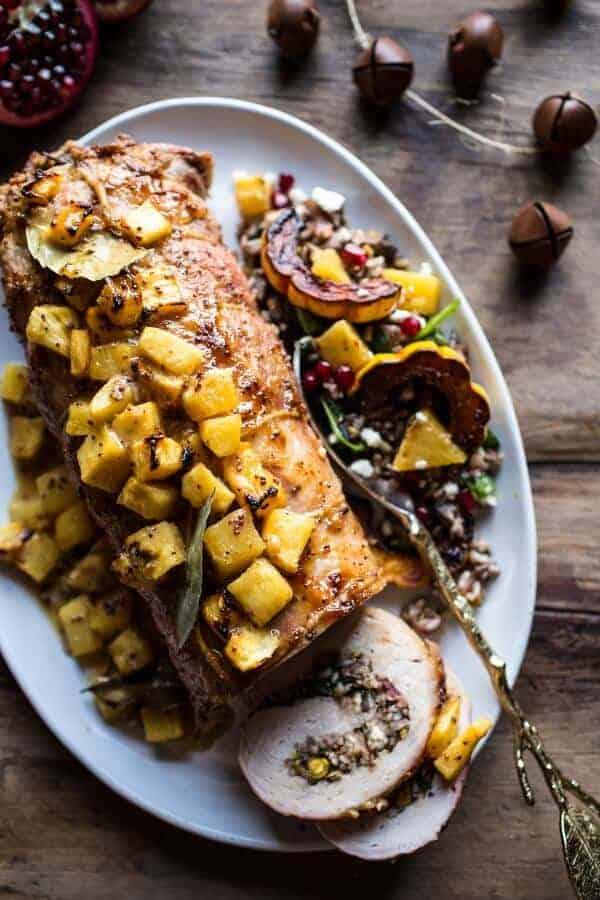Pineapple Glazed Pork Roast with Bacon Wild Rice Stuffing | halfbakedharvest.com @hbharvest