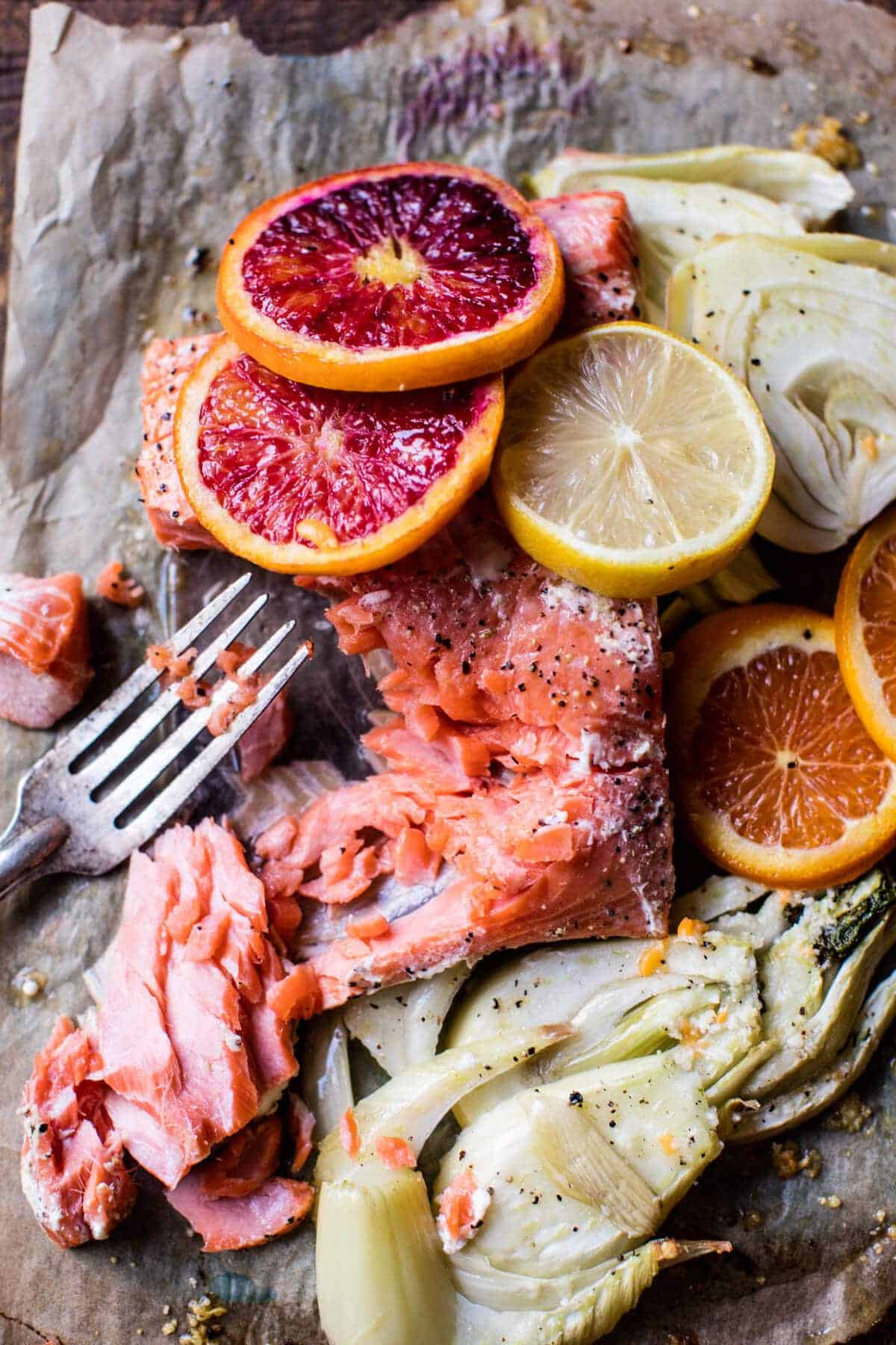 Slow Roasted Citrus Salmon with Fennel and Parmesan | halfbakedharvest.com @hbharvest