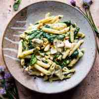 Lemony Spinach and Artichoke Brie Penne Pasta.