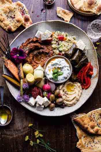 Middle Eastern Roasted Red Pepper Meze Platter | halfbakedharvest.com @hbharvest