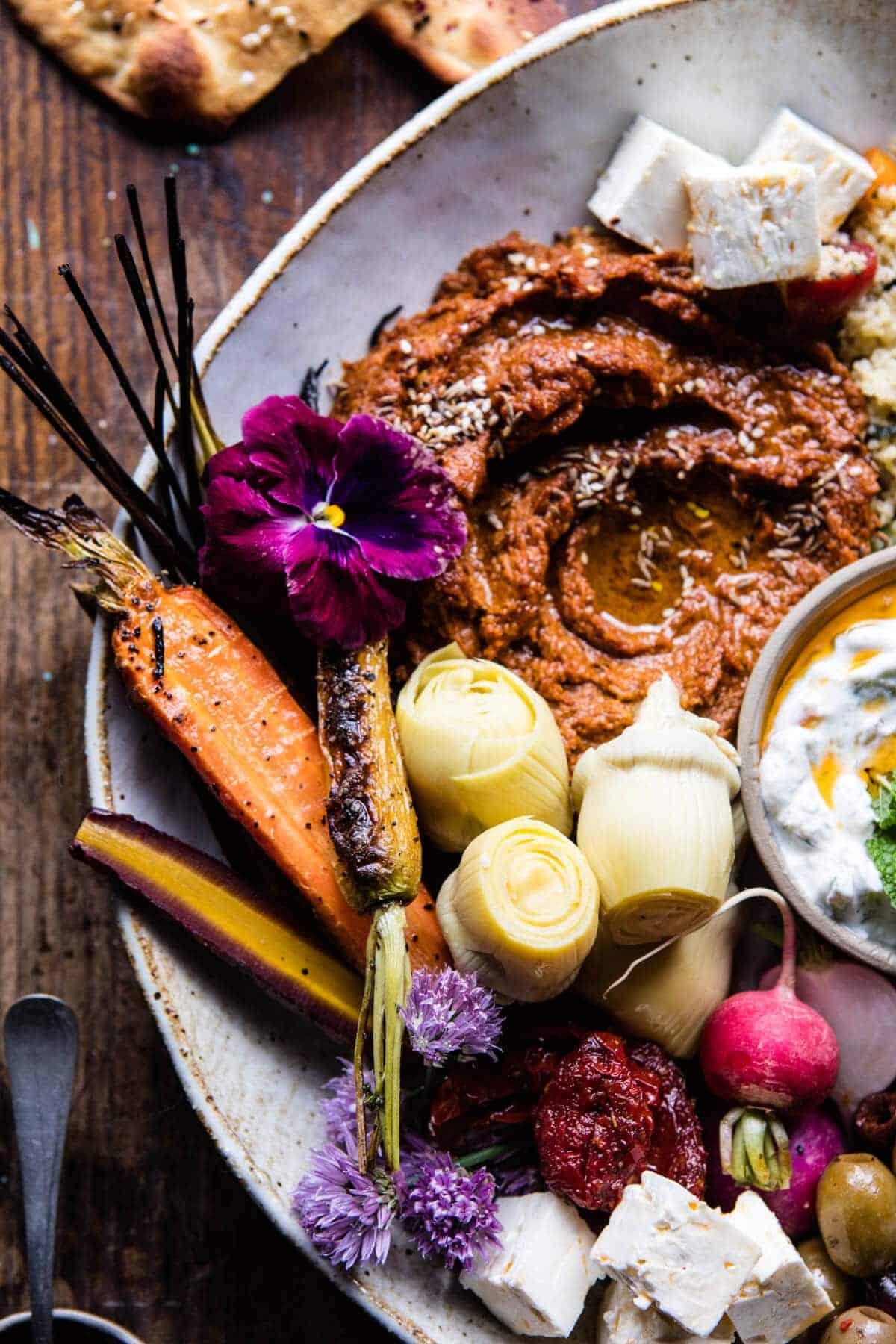 Roasted Red Pepper Meze Platter | halfbakedharvest.com @hbharvest