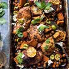 Sheet Pan Harissa Chicken with Chickpeas and Sweet Potatoes | halfbakedharvest.com #sheetpan #easy #dinner #chicken