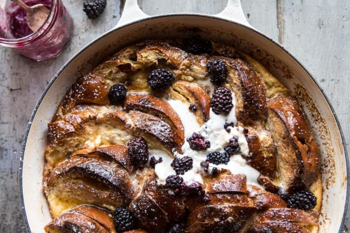 horizontal photo of Baked Blackberry Ricotta French Toast