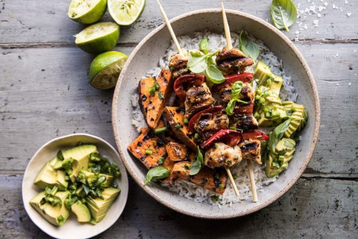 horizontal photo Grilled Chili Honey Lime Chicken and Sweet Potatoes with Avocado Salsa