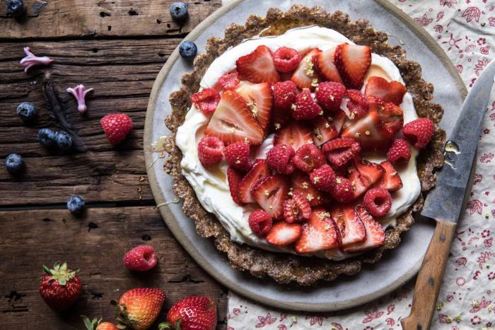 overhead horizontal photo of No Bake Greek Yogurt Fruit Tart