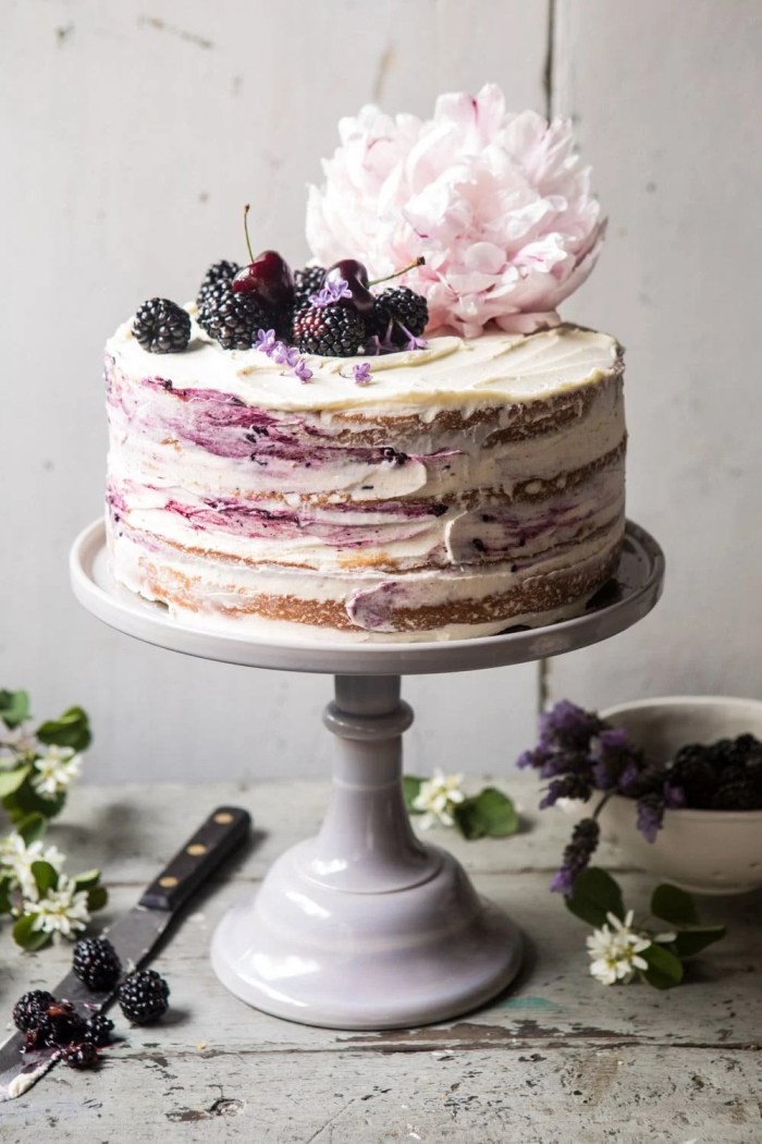 front on photo of Blackberry Lavender Naked Cake with White Chocolate Buttercream