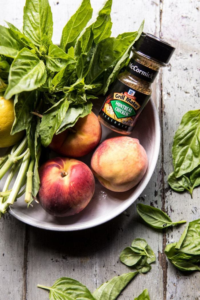 Whole Grilled Chicken with Peaches and Basil Vinaigrette | halfbakedharvest.com #chicken #easy #grilling #summer