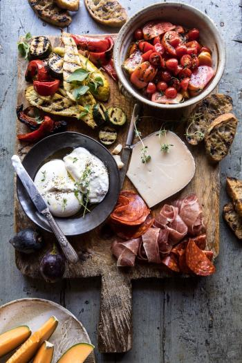 Marinated Tomato and Grilled Veggie Cheese Board | halfbakedharvest.com #cheeseboard #summerrecipes #easy #4thofjulyrecipe