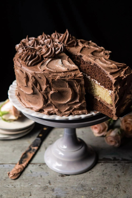 Better Together Chocolate Vanilla Birthday Cake Half