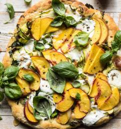 pesto zucchini and peach pizza with burrata halfbakedharvest com peach pizza  [ 1200 x 1800 Pixel ]