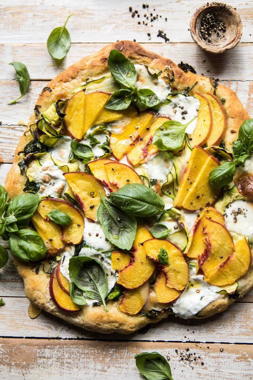 medium resolution of  pesto zucchini and peach pizza with burrata halfbakedharvest com peach pizza