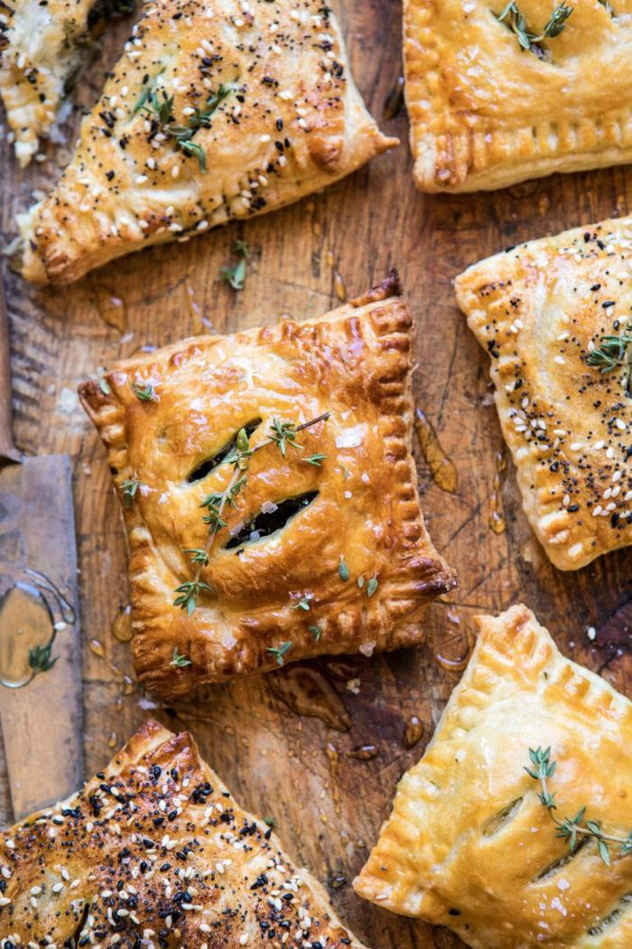 overhead close up photo of Caramelized Onion, Spinach, and Cheddar Flaky Pastries