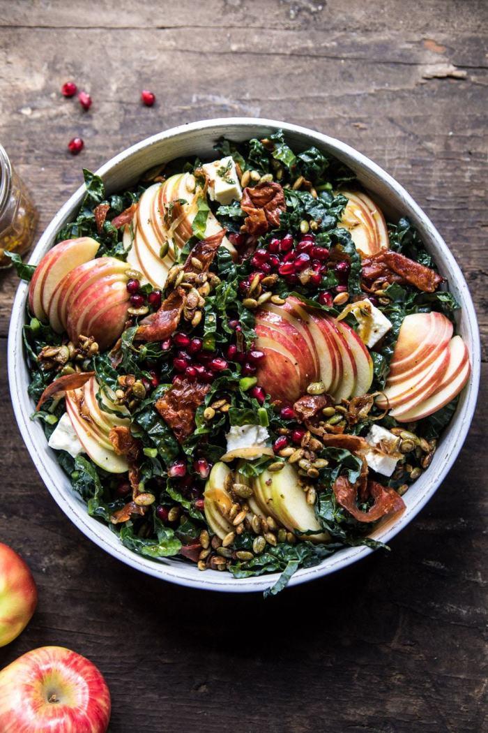 overhead photo of Fall Harvest Honeycrisp Apple and Kale Salad