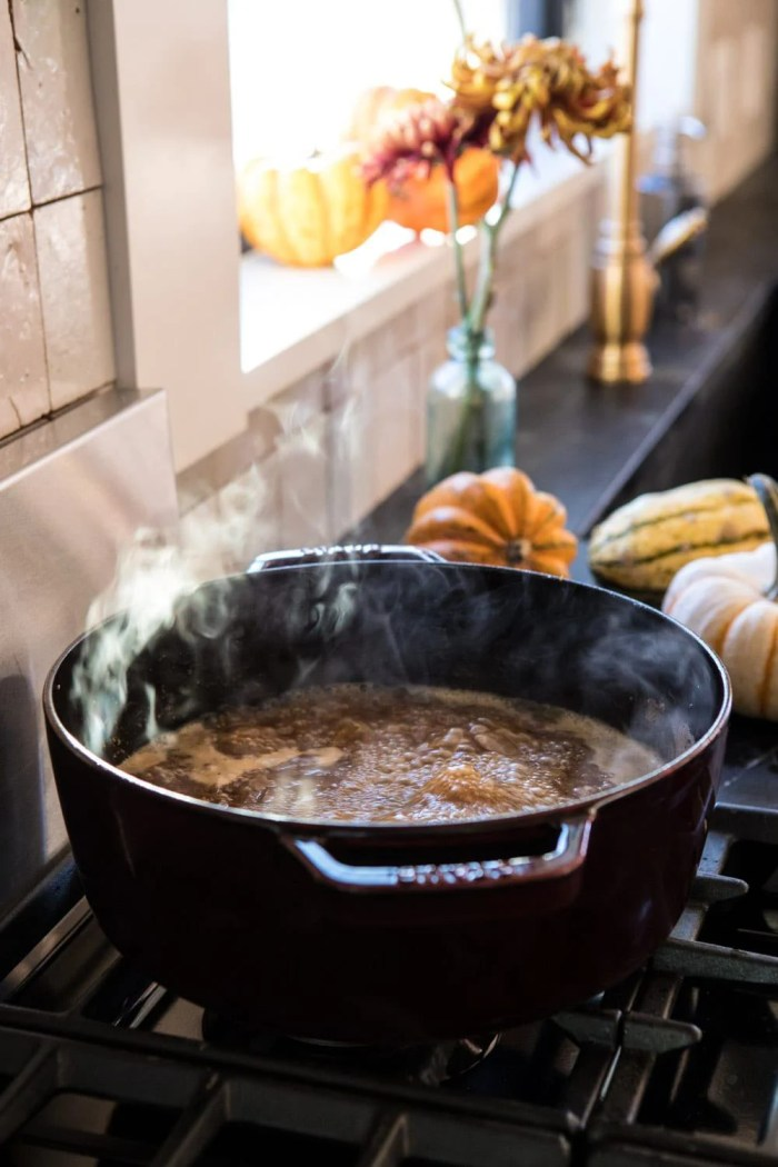 Herby French Shallot Soup on stove top