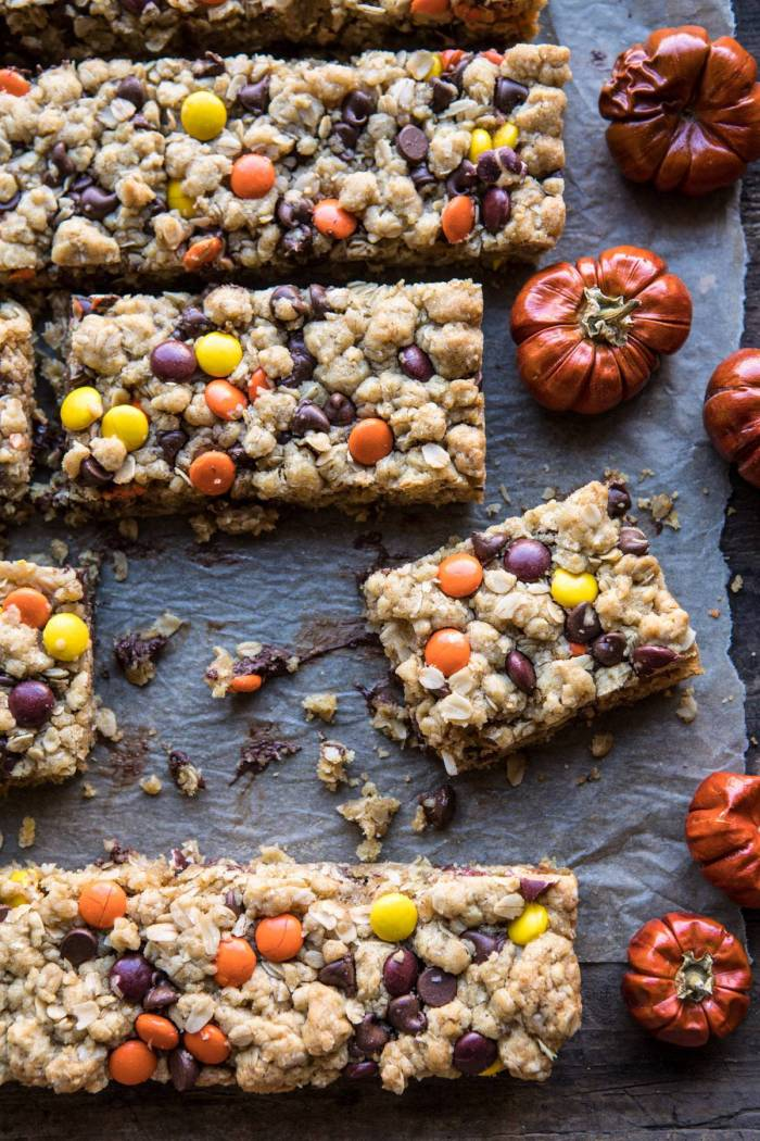 overhead photo of Monster Oatmeal Chocolate Chip Cookie Bars with cookies missing from photo