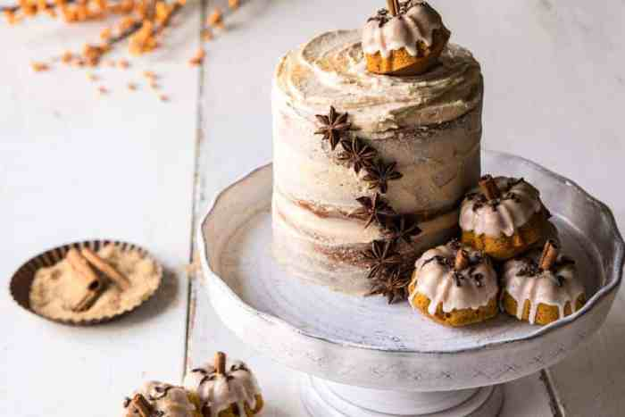 horizontal photo of Chai Pumpkin Cake with Maple Browned Butter Frosting