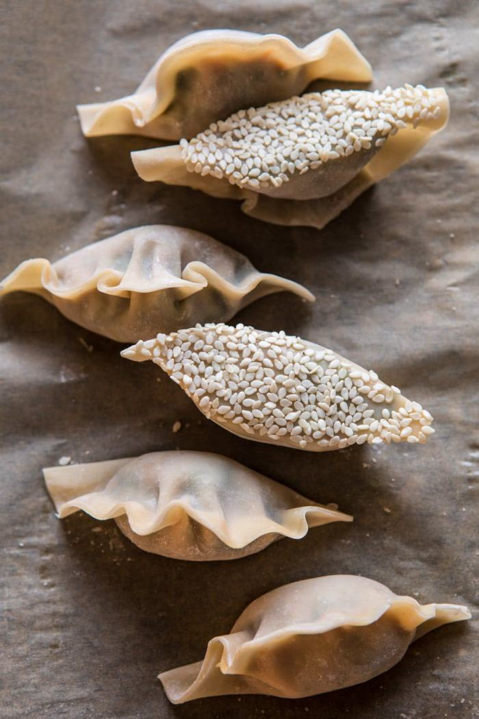Ginger Sesame Chicken Potstickers before cooking