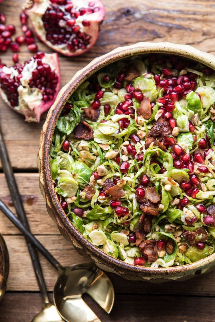 overhead close up photo of Shredded Brussels Sprout Bacon Salad with Warm Cider Vinaigrette