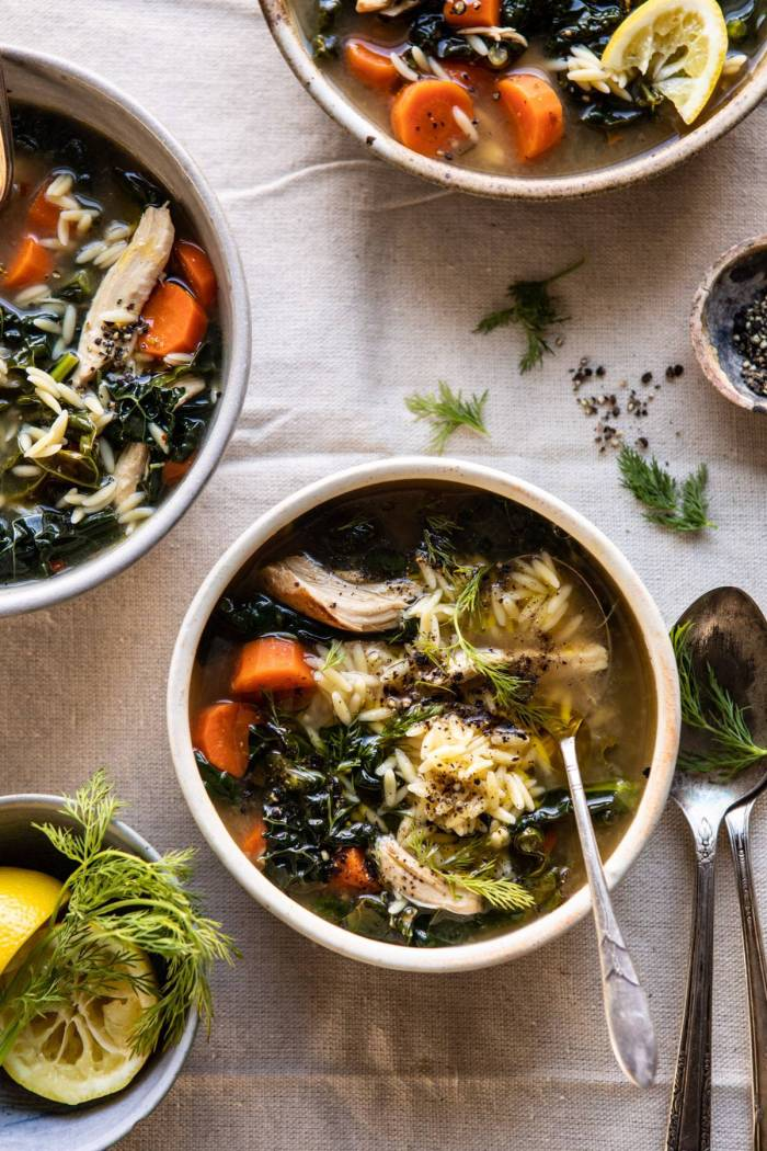 overhead photo of Lemony Garlic Chicken and Orzo Soup with 3 bowls in photo