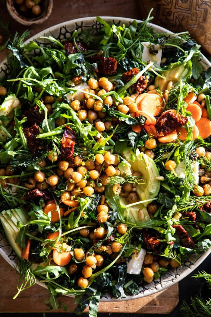 overhead close up photo of Super Green Sun-Dried Tomato Herb Salad with Crispy Chickpeas