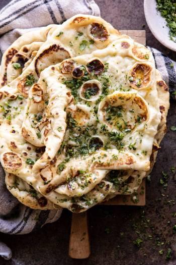 Herbed Garlic Butter Naan | halfbakedharvest.com #naan #easyrecipes #bread #indian