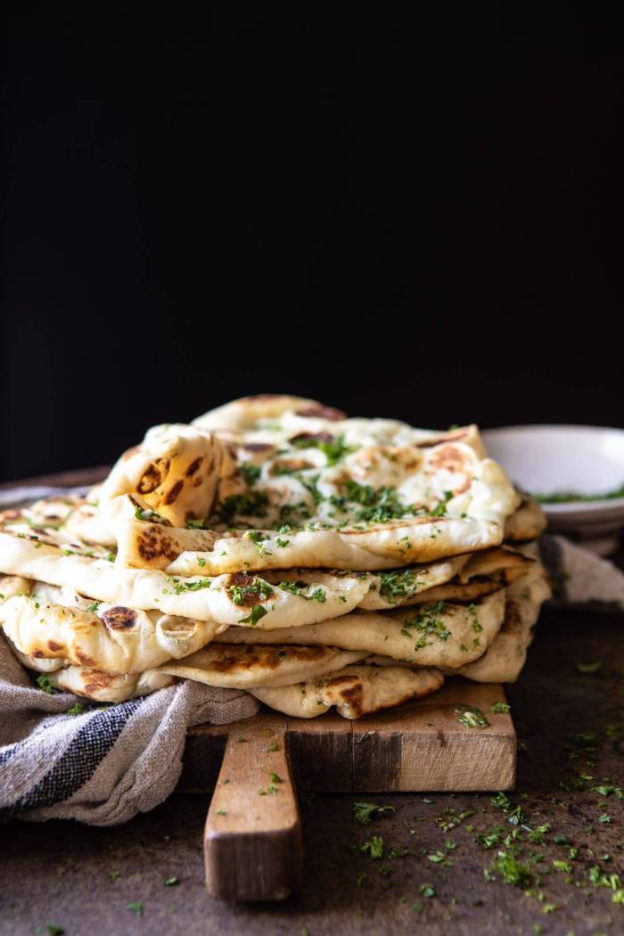 side angled photo of Herbed Garlic Butter Naan