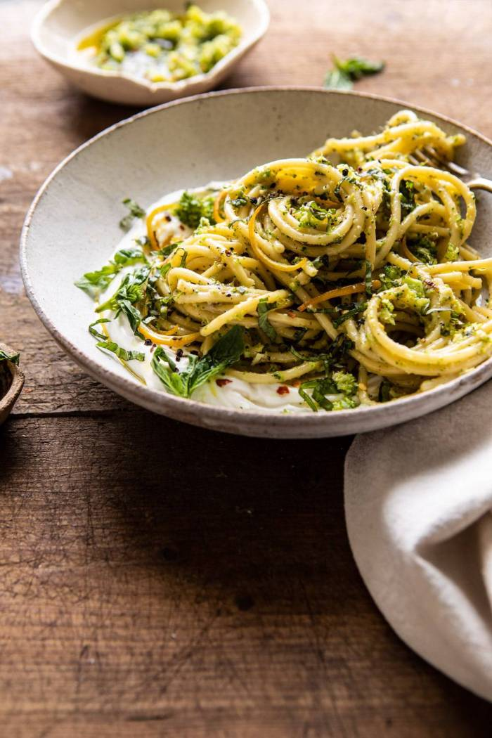 side angle photo of Broccoli Pesto Pasta with Whipped Ricotta