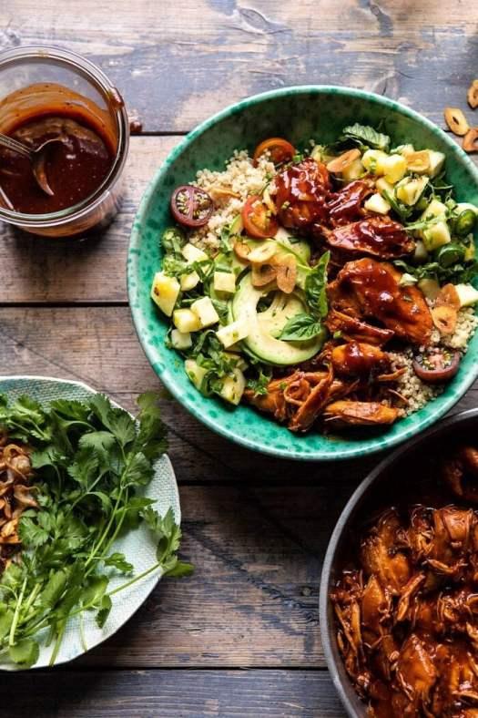 Weeknight Saucy Pineapple BBQ Chicken Bowls | halfbakedharvest.com #chicken #instantpot #slowcooker #pineapple #easyrecipes