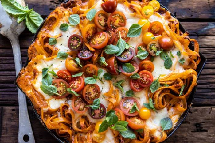 horizontal photo of One Pot 30 Minute Creamy Tomato Basil Pasta Bake
