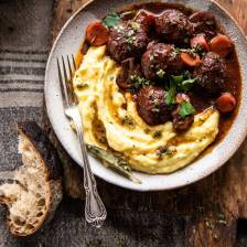 30 Minute Coq au Vin Chicken Meatballs with browned Butter Mashed Potatoes | halfbakedharvest.com #meatballs #easyrecipe #dinner