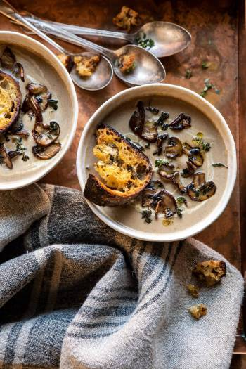 Cream of Mushroom Soup with Garlic Herb Breadcrumbs | halfbakedharvest.com #soup #mushrooms #easyrecipes #fall #winter