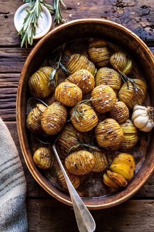 Crispy Rosemary Butter Roasted Potatoes | halfbakedharvest.com #potatoes #fall #autumn #Thanksgiving #Christmas