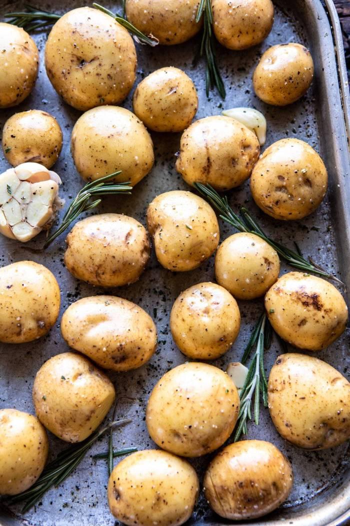 potatoes on roasting pan