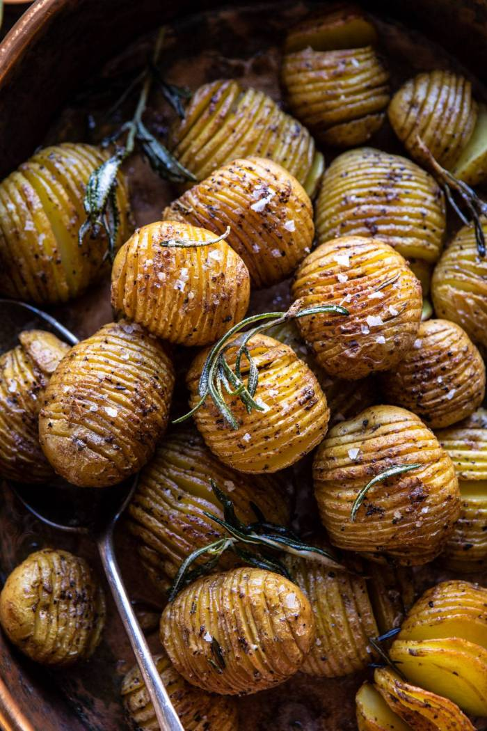 overhead close up photo of Crispy Rosemary Butter Roasted Potatoes