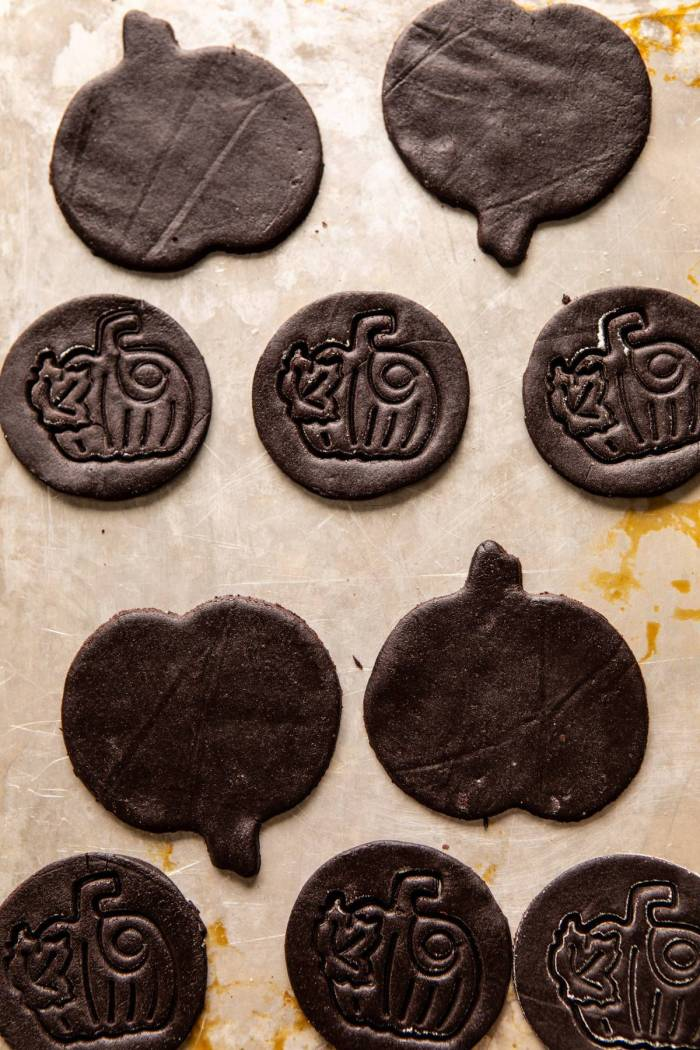 Chocolate Jack-O'-Lantern Cookies on baking sheet before baking