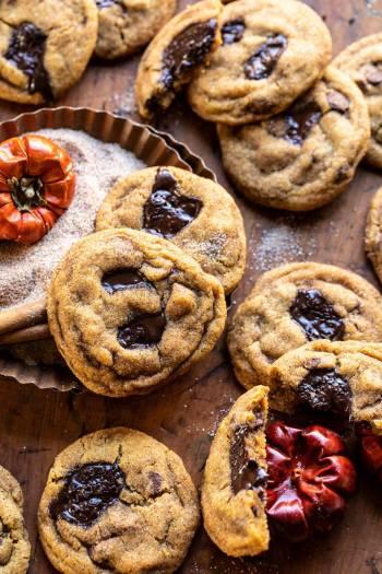 Pumpkin Butter Chocolate Chip Cookies   halfbakedharvest.com #pumpkin #cookies #chocolatechipcookies #fallrecipes