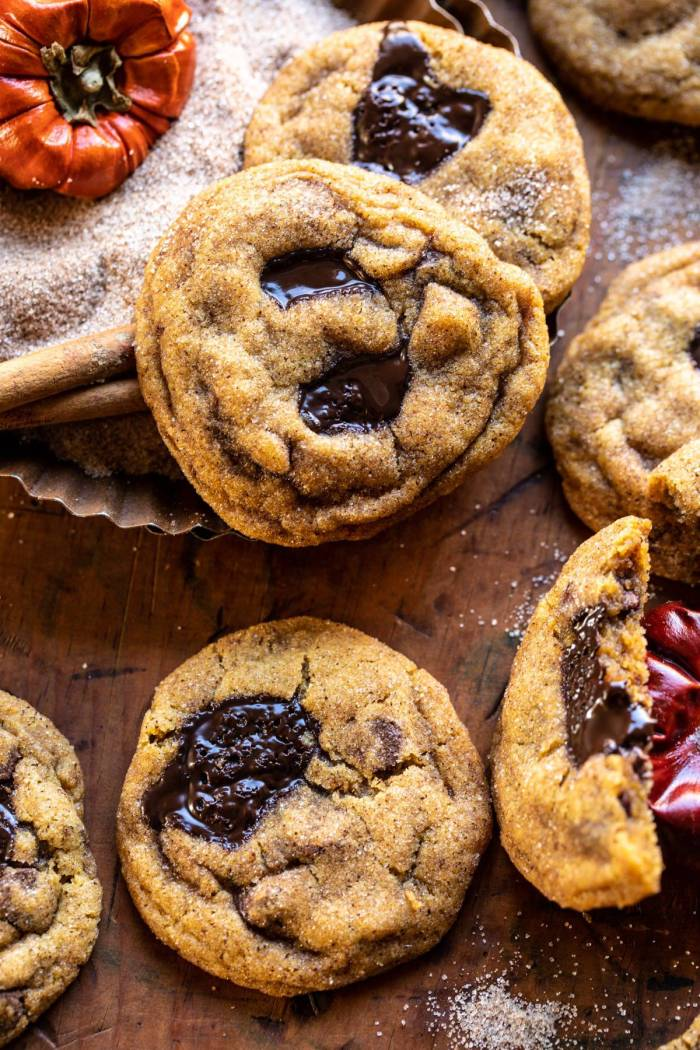 overhead close up photo of Pumpkin Butter Chocolate Chip Cookies