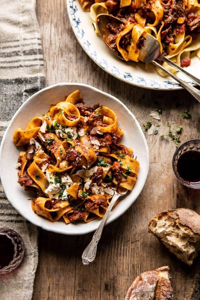 overhead photo of Slow Cooker Red Wine Sunday Ragu Pasta