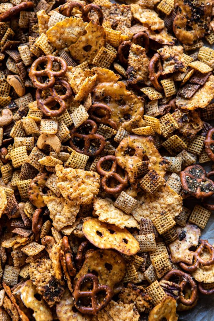 overhead close up photo of Spicy Ranch Chex Mix