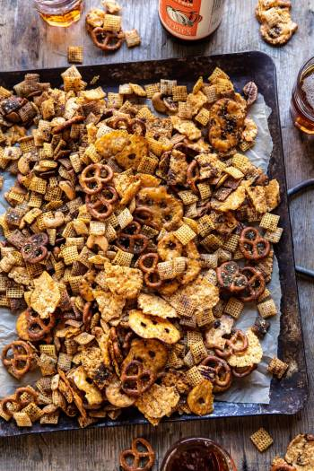 Spicy Ranch Chex Mix   halfbakedharvest.com #appetizers #snacks #easyrecipes #gameday #christmas #thanksgiving