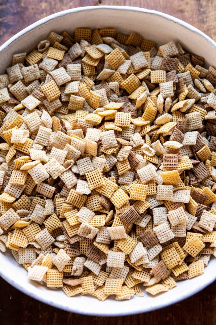 overhead photo of Chex cereal in bowl