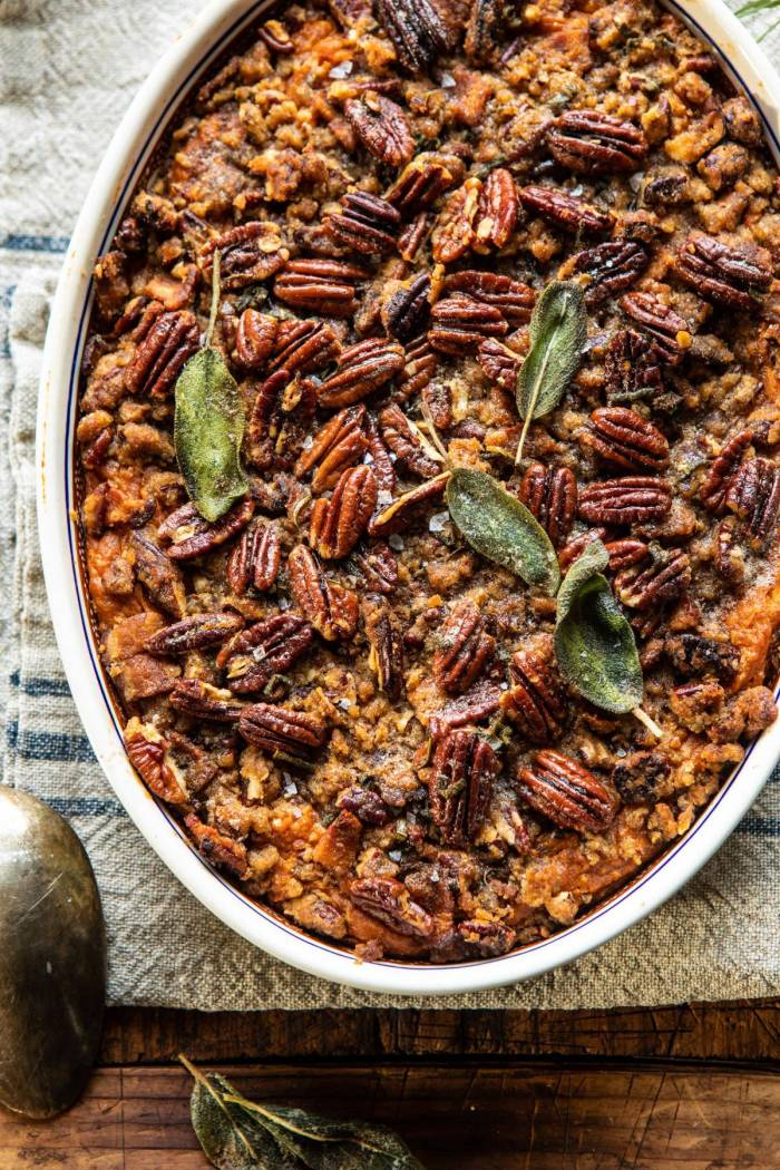 overhead close up photo of Bourbon Sweet Potato Casserole with Sweet n Savory Bacon Pecans