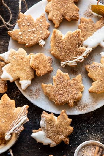 Chai Spiced Maple Sugar Cookies with Browned Butter Frosting | halfbakedharvest.com #cookies #thanksgiving #dessert #holiday #sugarcookies