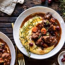Cranberry Cider Braised Beef Stew with Rosemary Polenta | halfbakedharvest.com #slowcooker #instantpot #beef #polenta