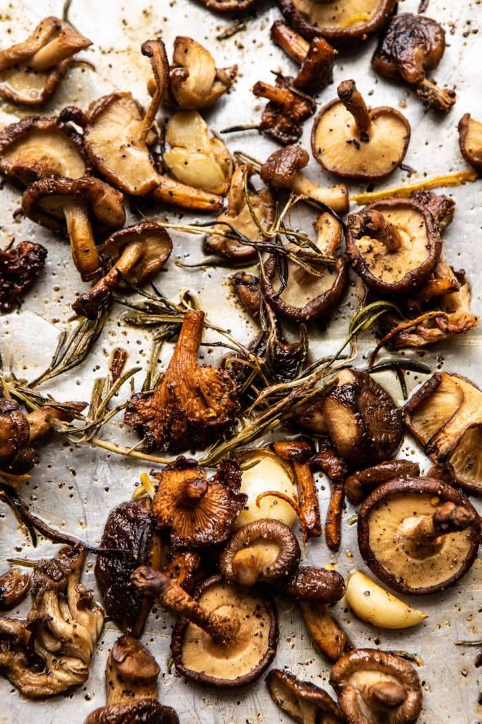 overhead photo of Roasted Mushrooms on baking sheet