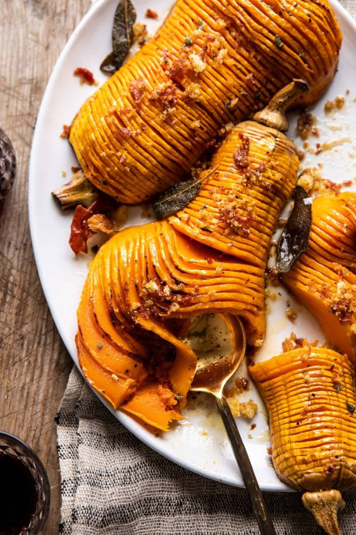 overhead photo of Hasselback Butternut Squash with Sage Butter and Prosciutto Breadcrumbs
