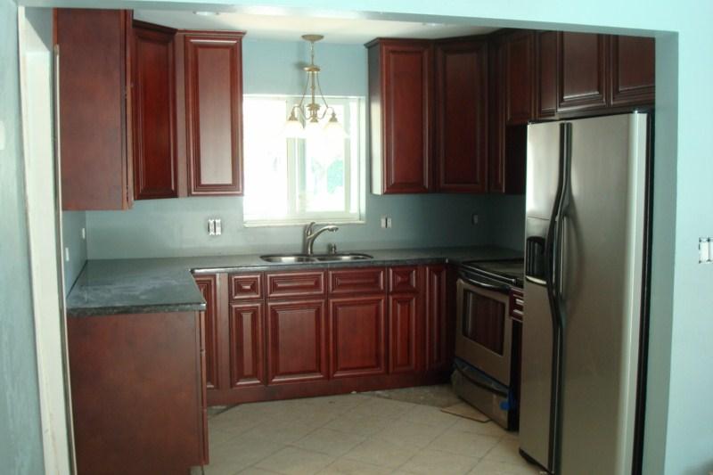 New Burgundy Wood Cherry Custom Kitchen Bathroom Cabinets