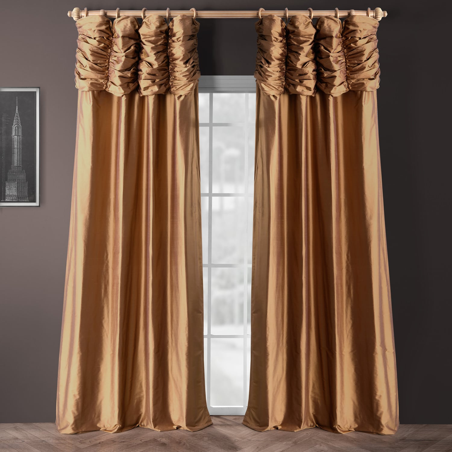 Buy Ruched Brown Gold Thai Silk Curtains Panel