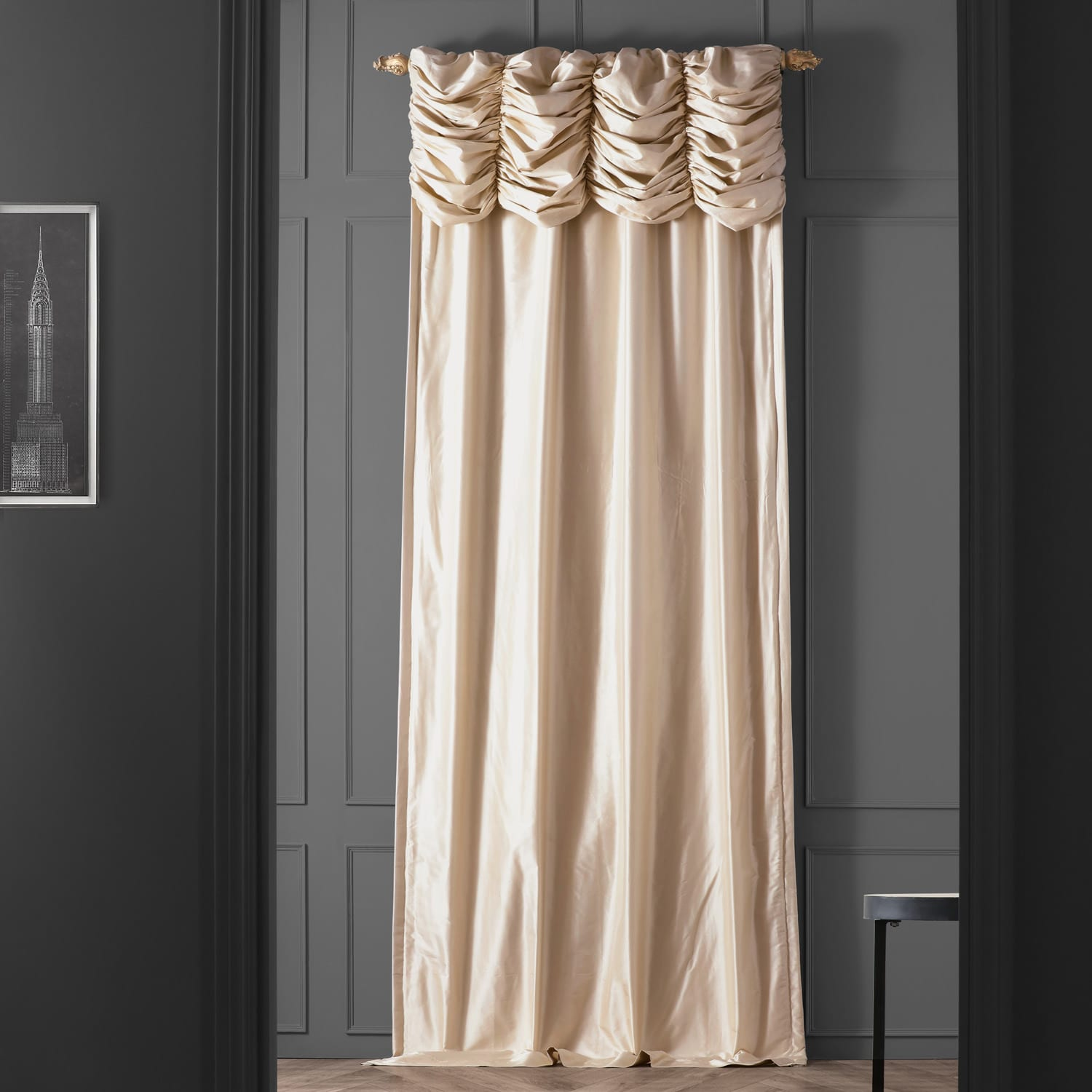 Buy Ruched Pearl White Thai Silk Curtains and Drapes