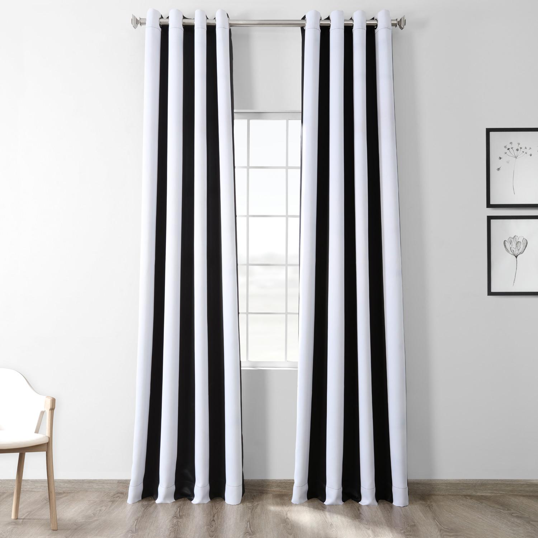Awning Black Amp White Stripe Grommet Blackout Curtains